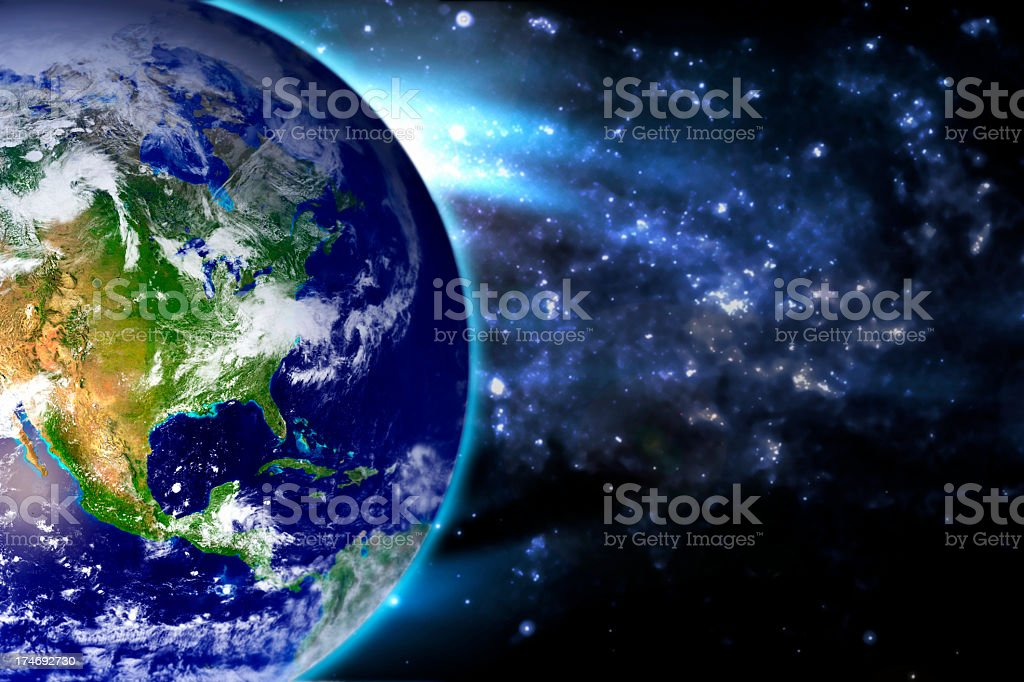 Earth Blue Stratosphere North America stock photo