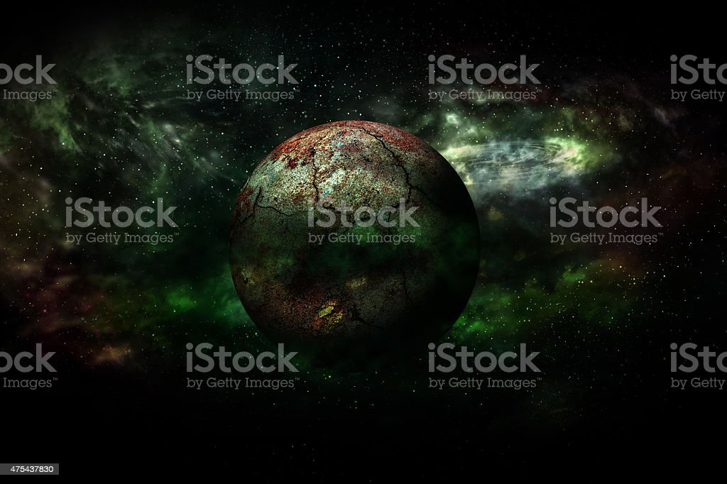 Earth burning after a global disaster stock photo