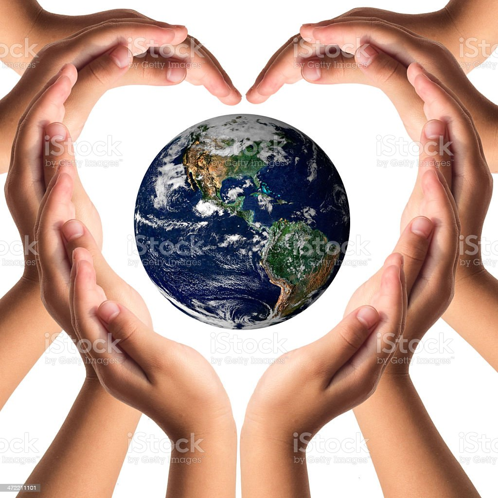 Earth care with helping hands concept .. stock photo