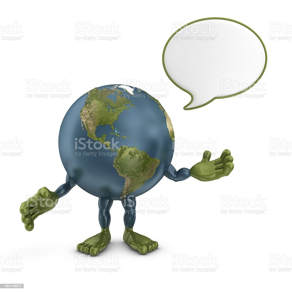 earth character with speech bubble royalty-free stock photo