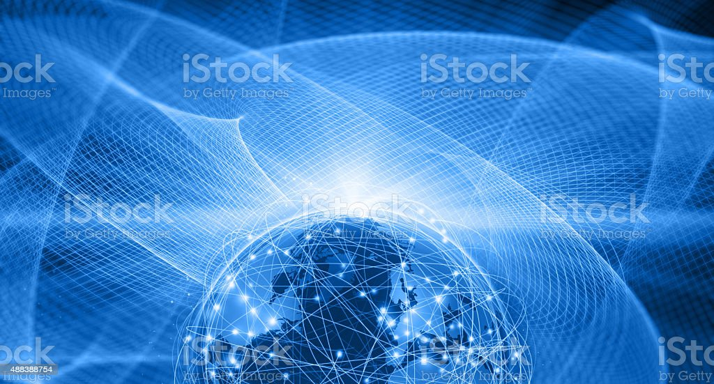 Earth connected by computer network on blue space background stock photo