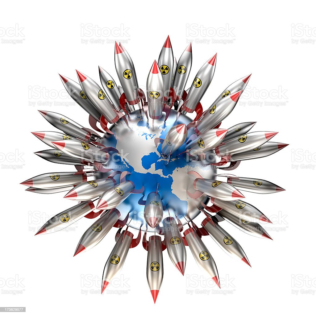 Earth covered in nuclear warheads (Clipping path included) stock photo