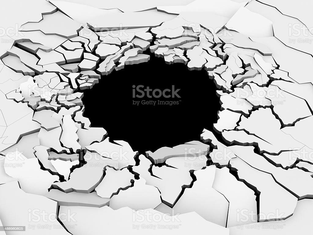 Earth Crack Hole stock photo