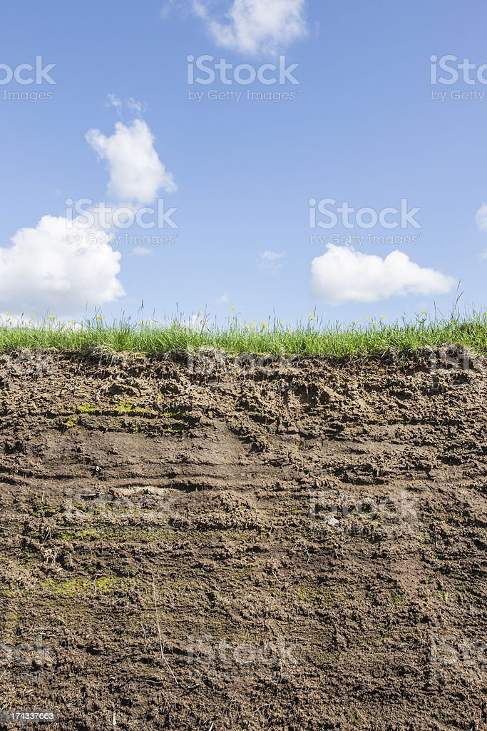 Earth cross section with sky stock photo