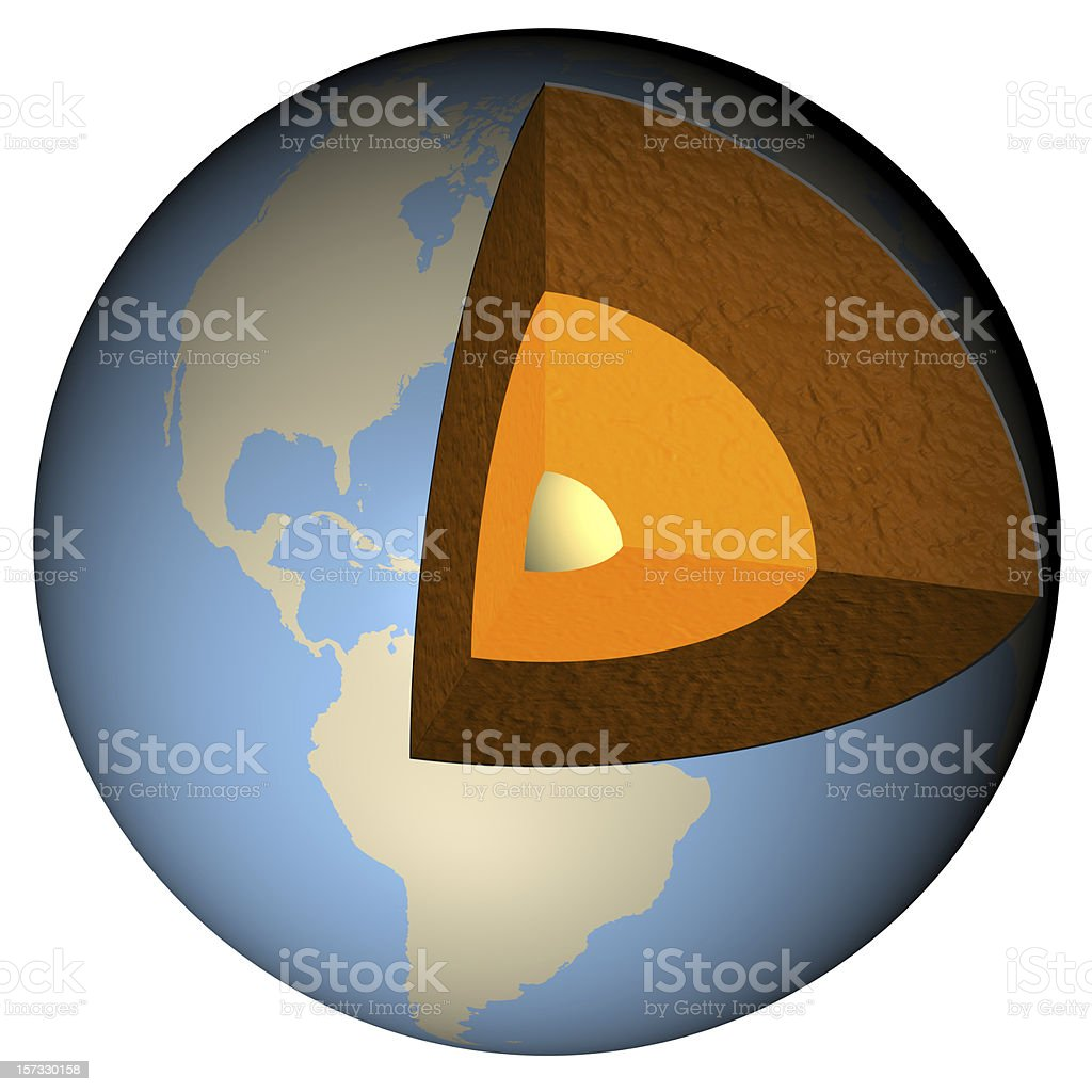 Earth cross-section stock photo