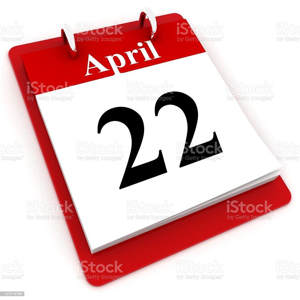 Earth Day Calendar royalty-free stock photo