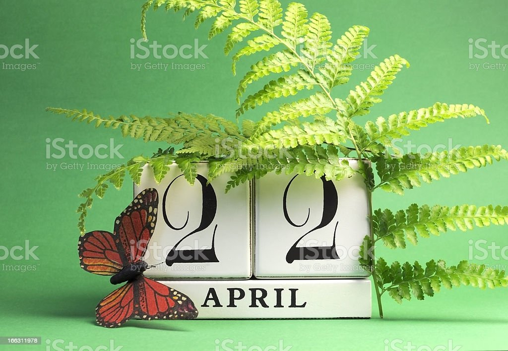 Earth Day, save the date white block calendar, April 22. stock photo