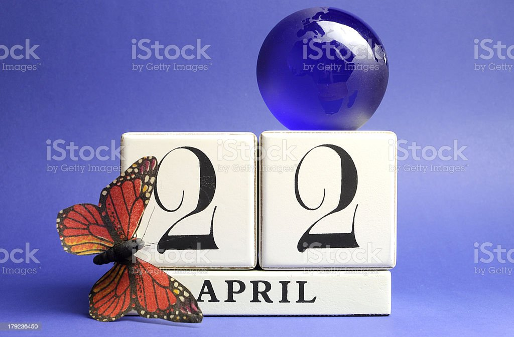 Earth Day, save the date white block calendar, April 22 stock photo