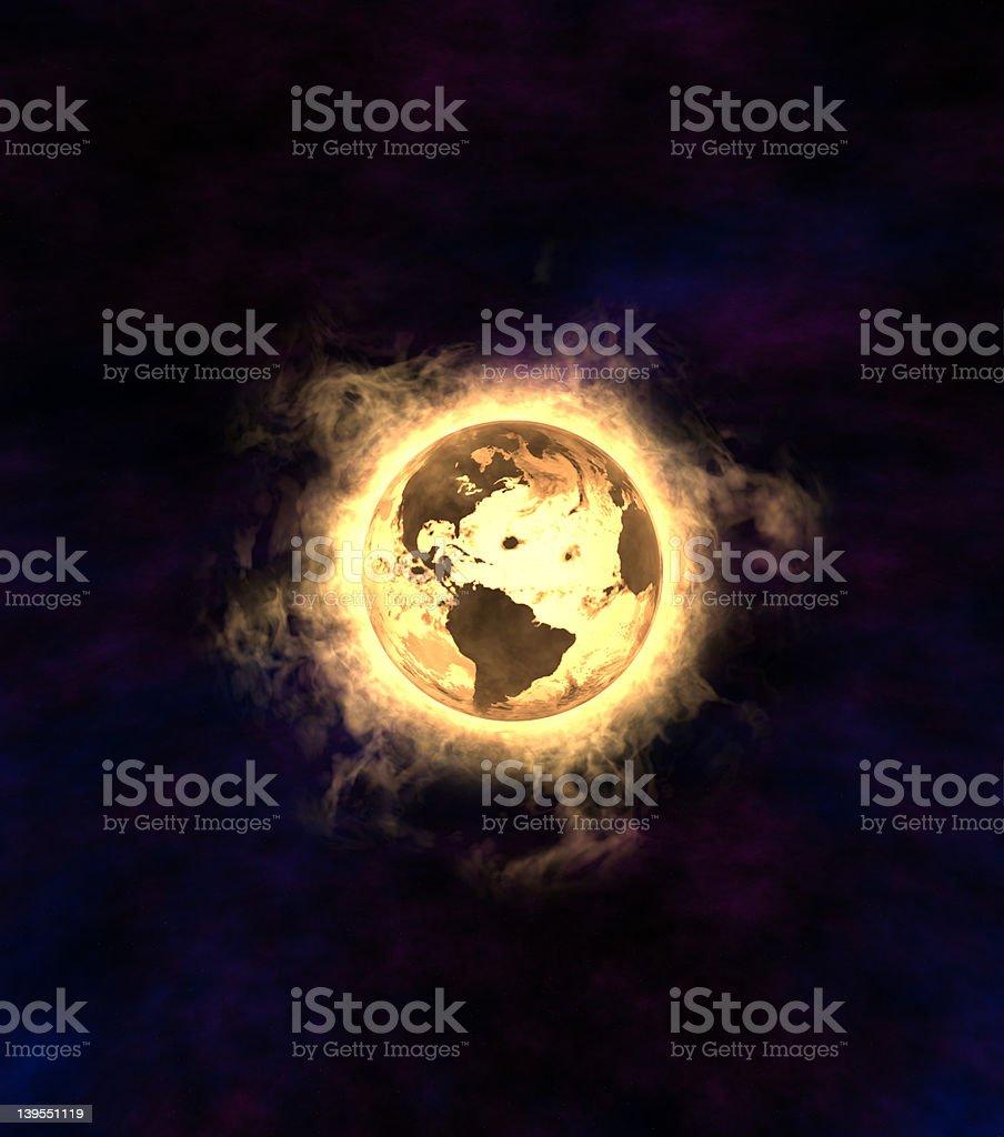 Earth Explotion America side royalty-free stock photo
