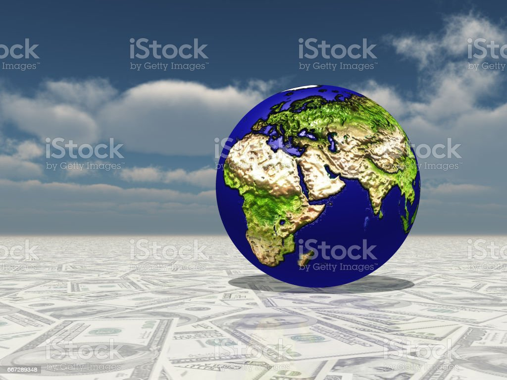 Earth focus Europe, Africa, Mdeast Asia on Dollar Surface stock photo