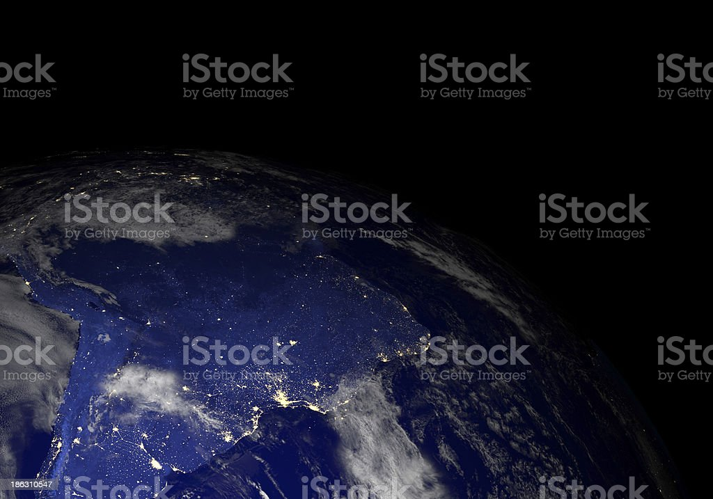 Earth from space at night. South America. stock photo