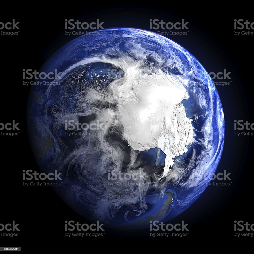Earth from space showing Antarctica. stock photo