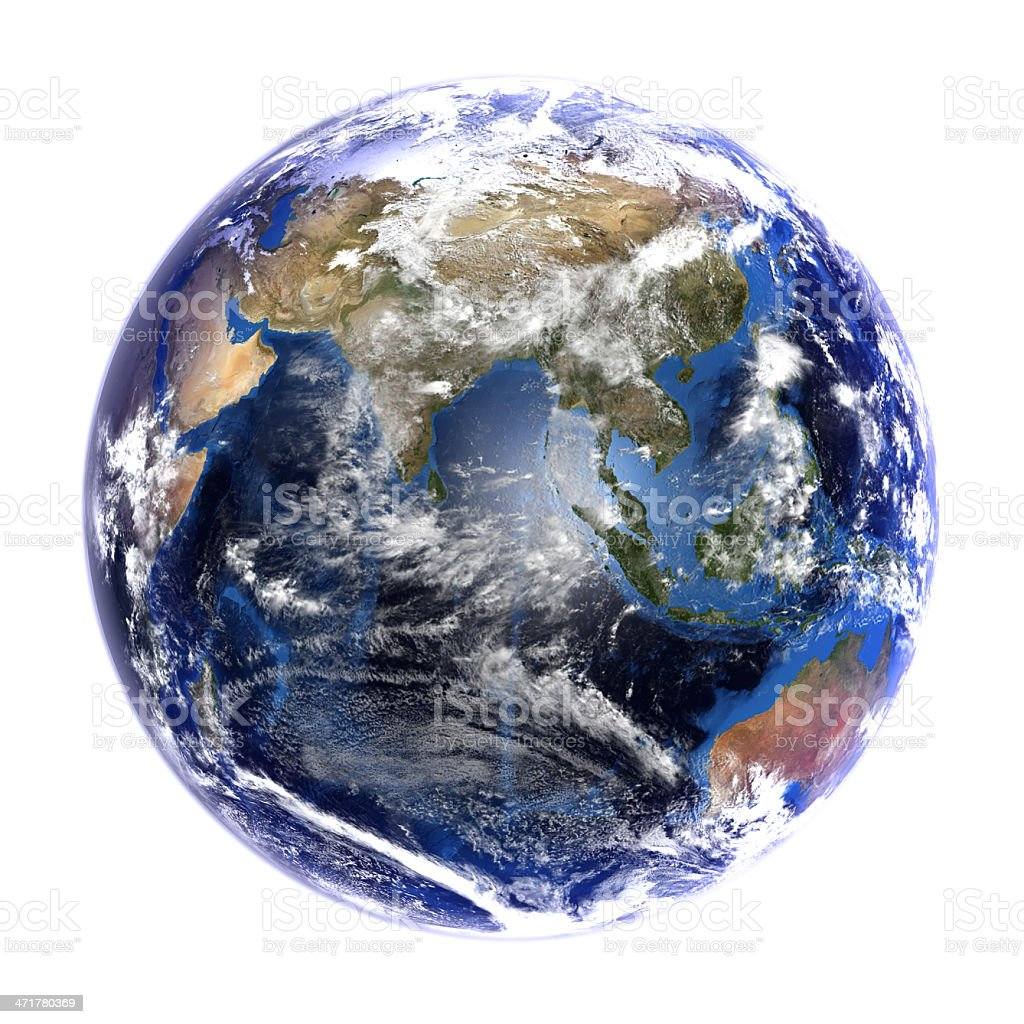 Earth from space showing Asia, isolated on white. royalty-free stock photo