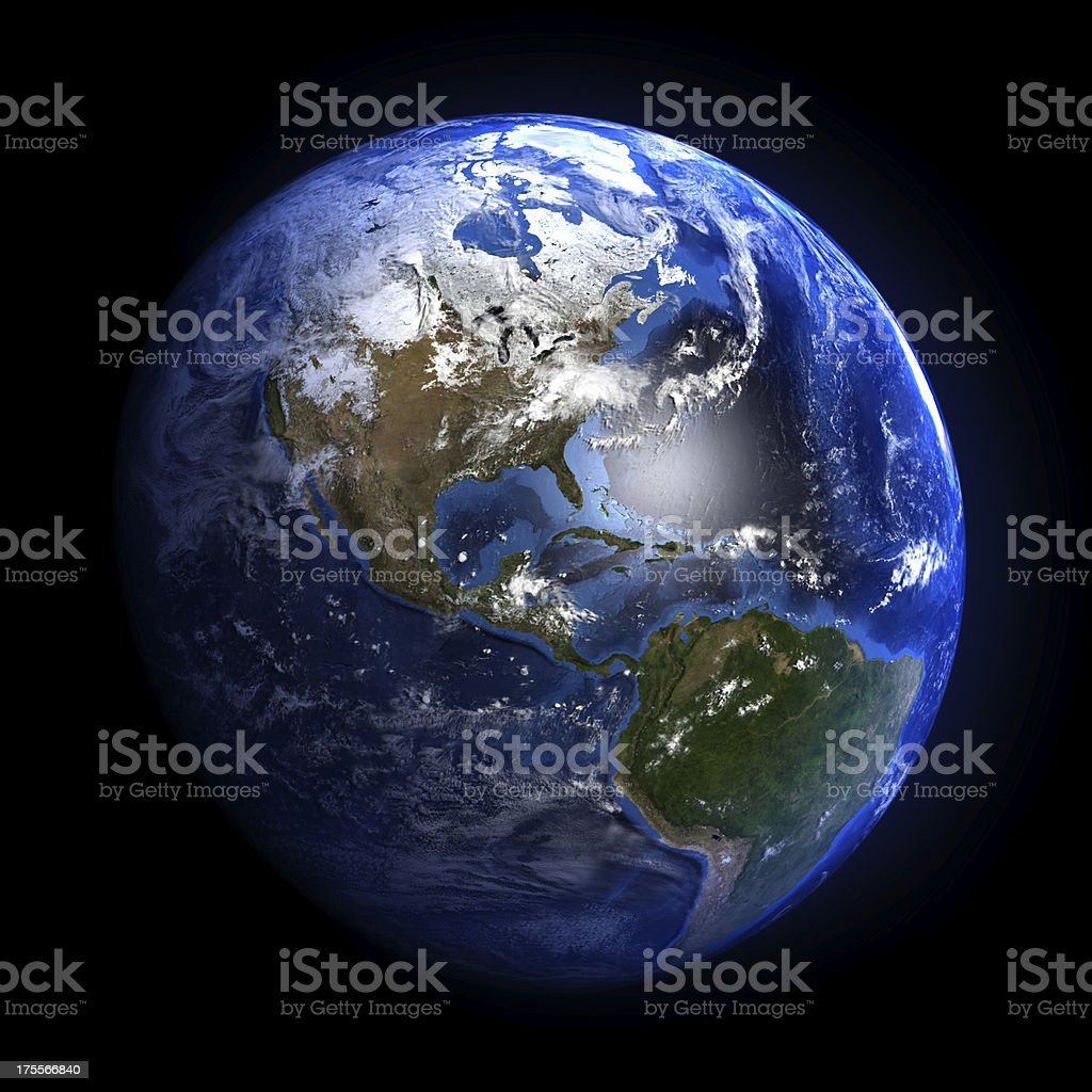 Earth from space showing North and South America. stock photo