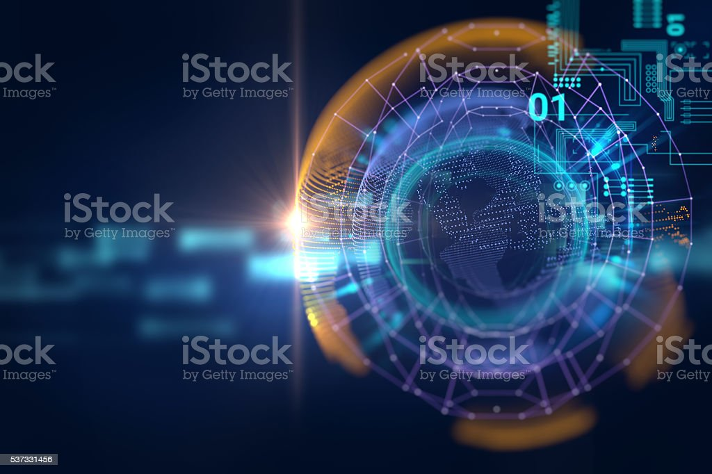 earth futuristic technology abstract background stock photo