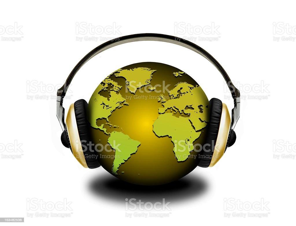 earth globe and headphones royalty-free stock photo