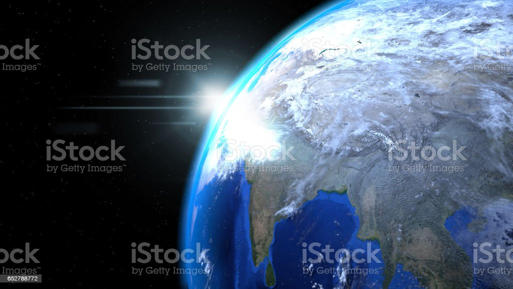Earth globe from space with sun and clouds, close up, showing India stock photo
