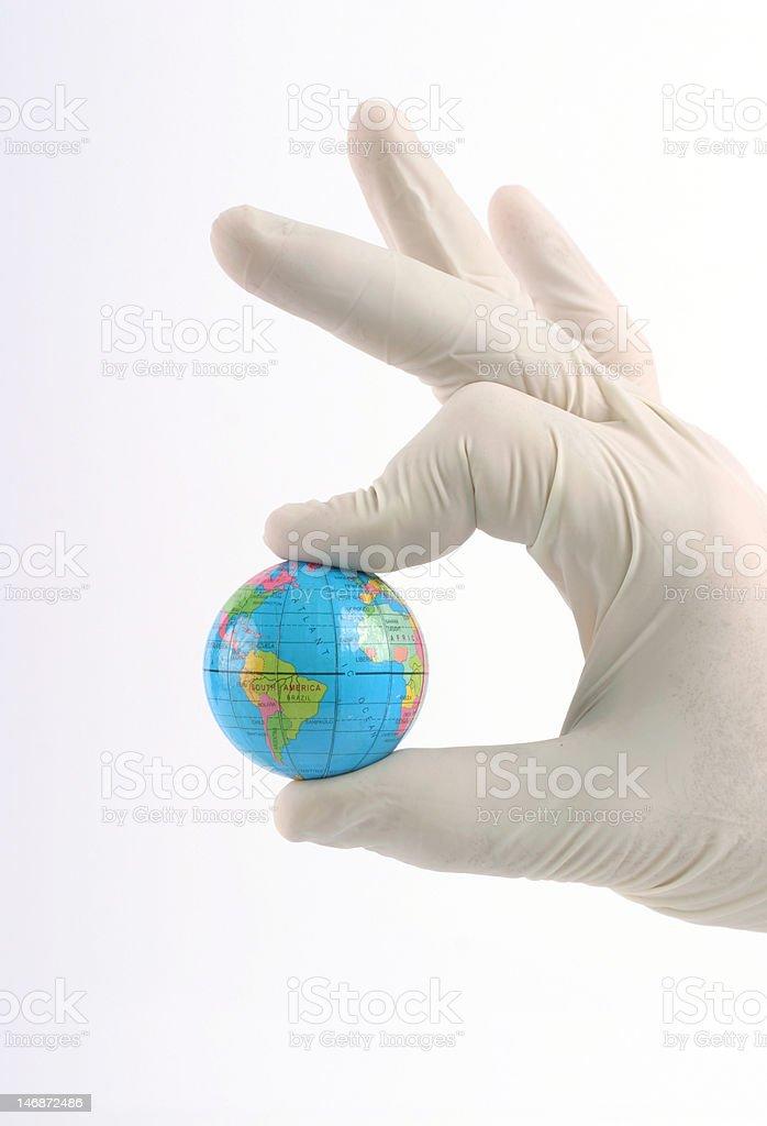 Earth globe in  hand stock photo
