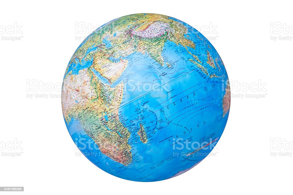 earth globe in Spanish version isolated on white background stock photo
