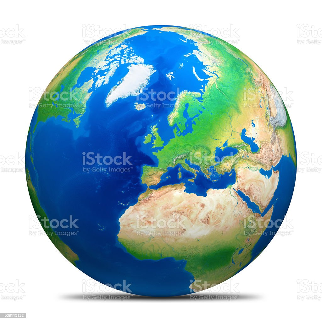Earth globe on white without clouds and North Pole ice. stock photo