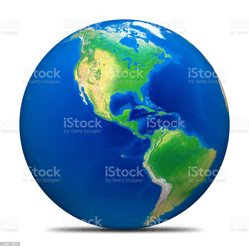 Earth globe on white, without clouds: the Americas. Clipping path. stock photo