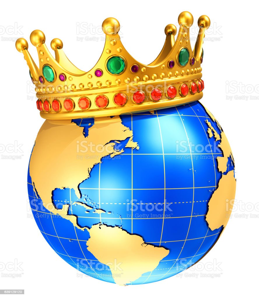Earth globe planet with golden royal crown stock photo