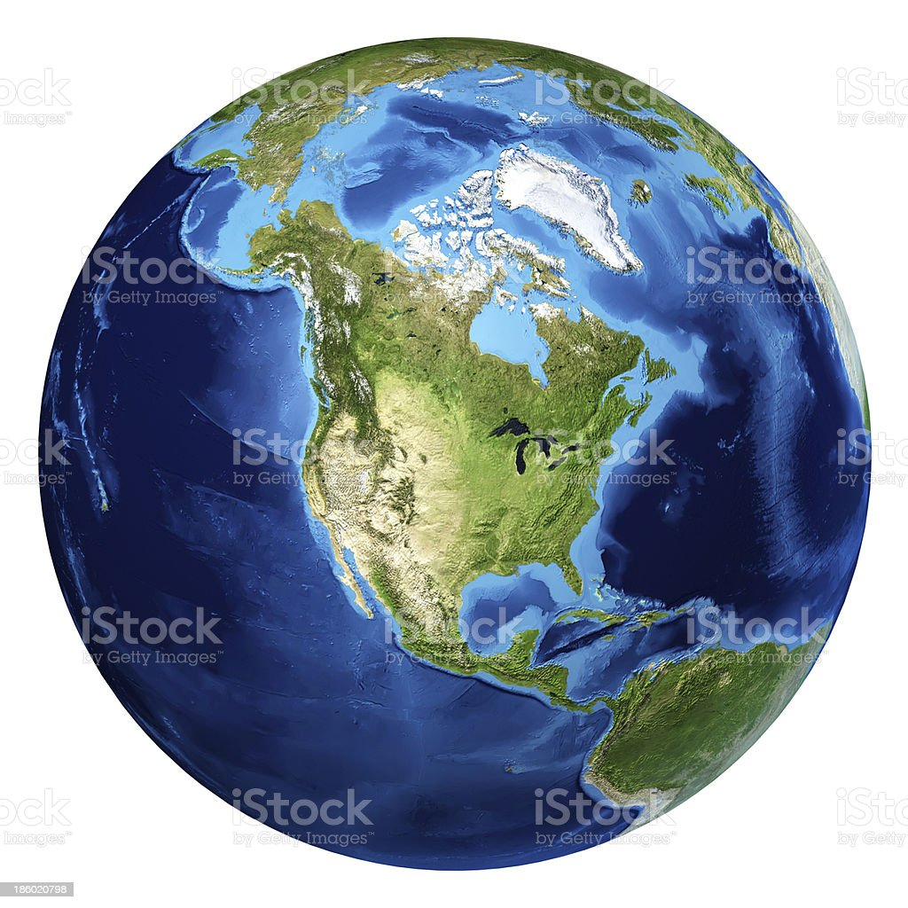 Earth globe, realistic 3D rendering. North America view. stock photo