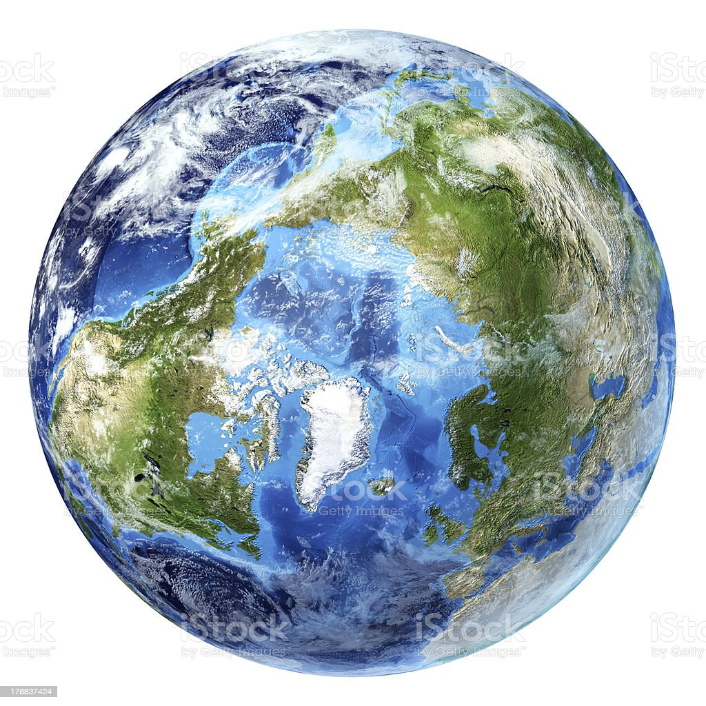 Earth globe, realistic 3D rendering, with some clouds. Arctic view. royalty-free stock photo