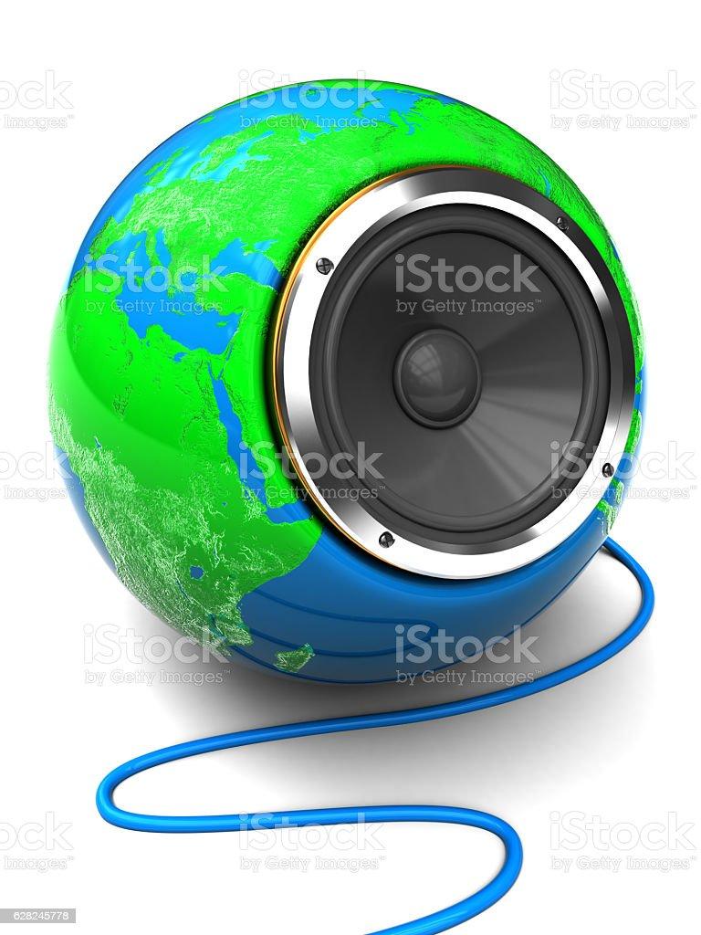 earth globe speaker stock photo