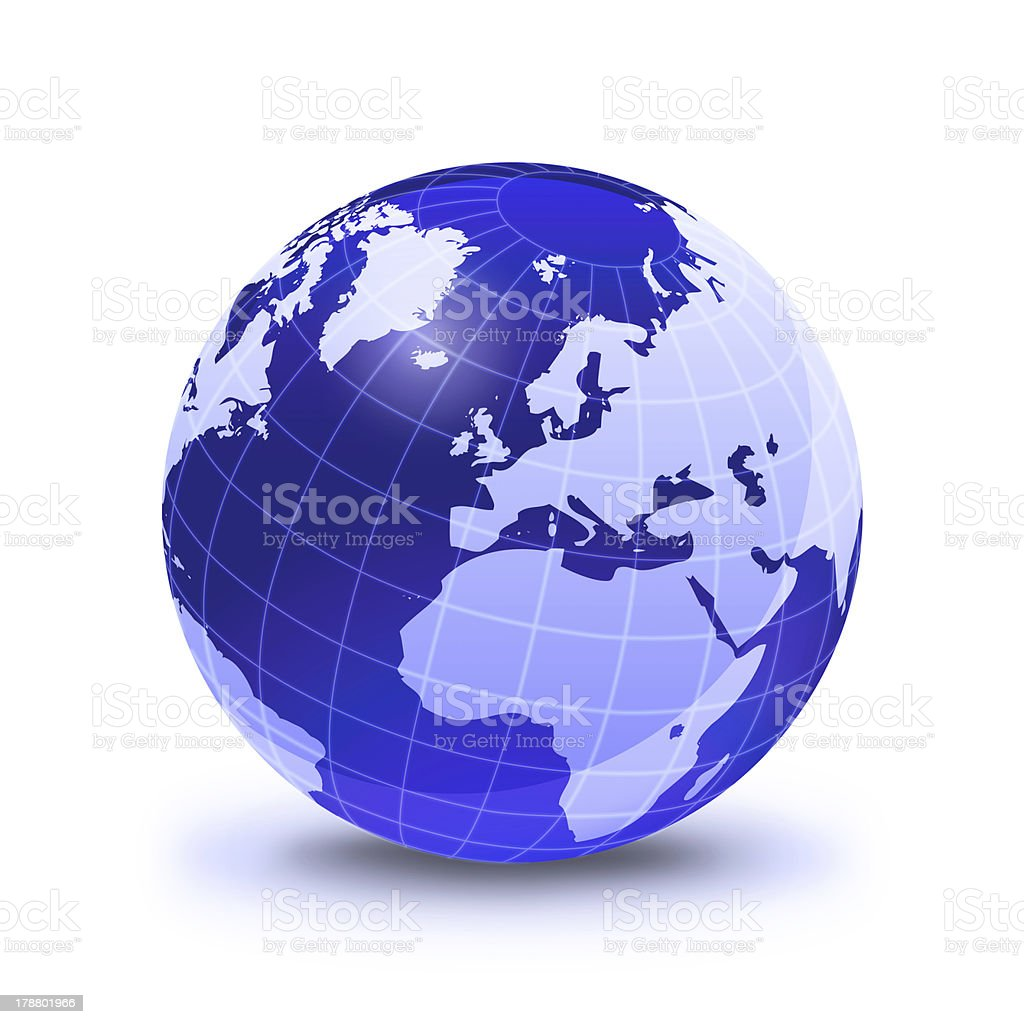 Earth globe stylized, in blue color, on white surface. stock photo