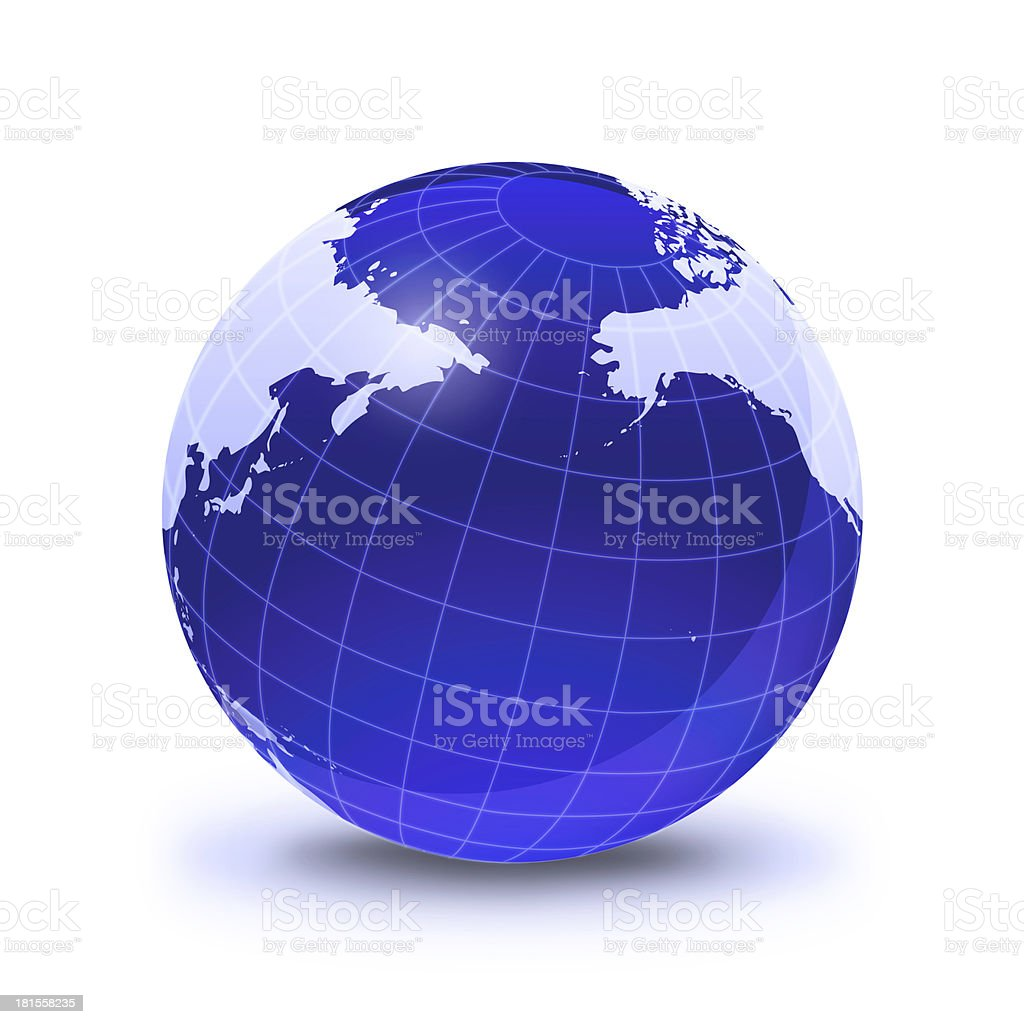 Earth globe stylized, in blue color, Pacific Ocean view. royalty-free stock photo