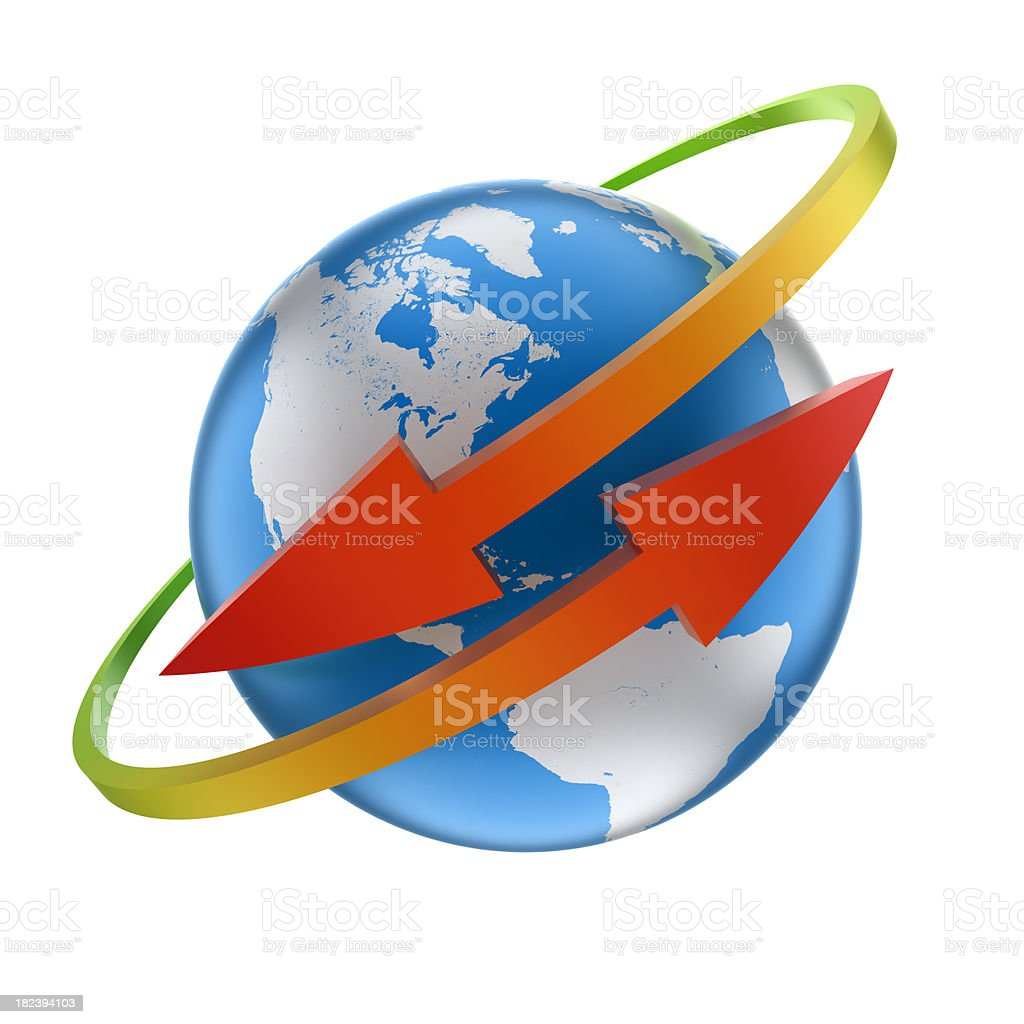 Earth globe with arrows going around it, clipping path included stock photo