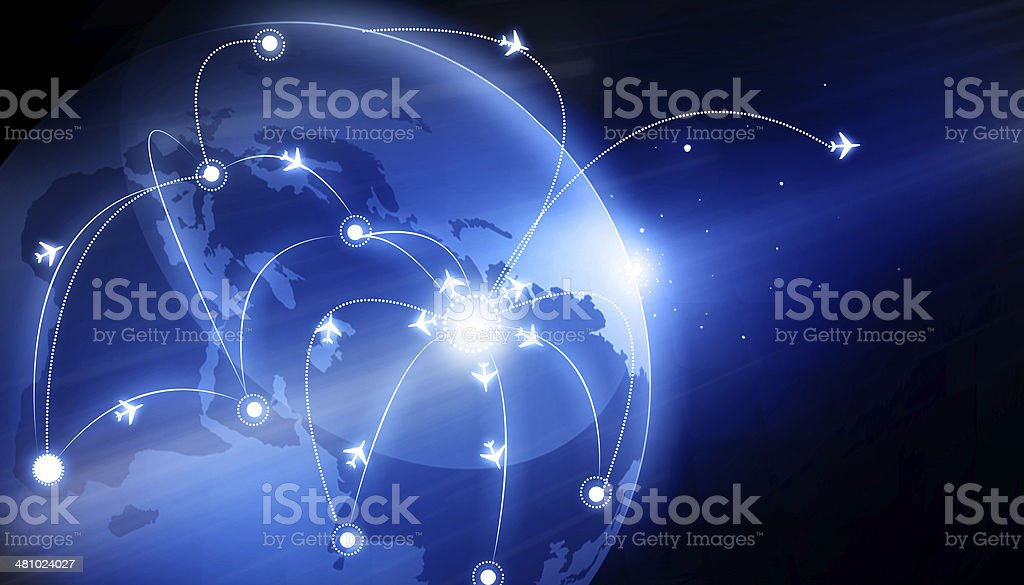 Earth Globe with flight paths. Connecting the world stock photo