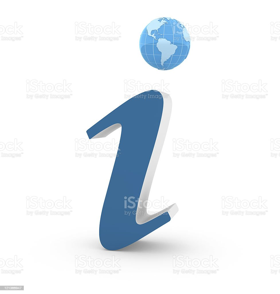 Earth Globe with Information Symbol royalty-free stock photo