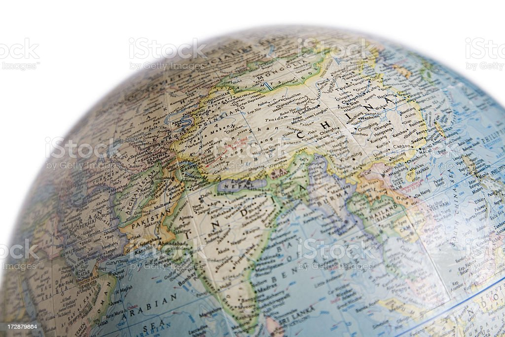 Earth Globe with Map of Asia (Mainly China, India) stock photo