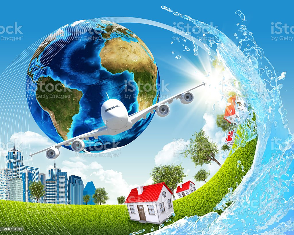 Earth, green grass, buildings, water and airplane stock photo