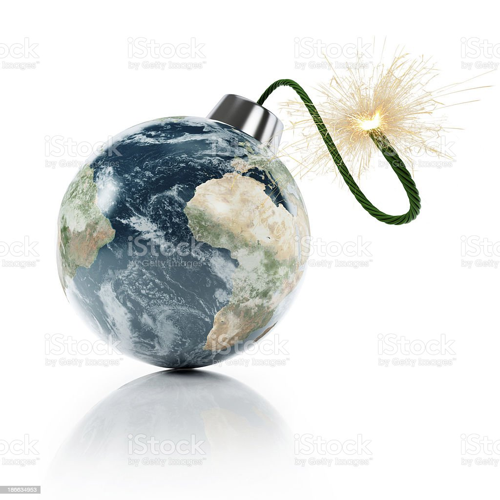 Earth grenade stock photo