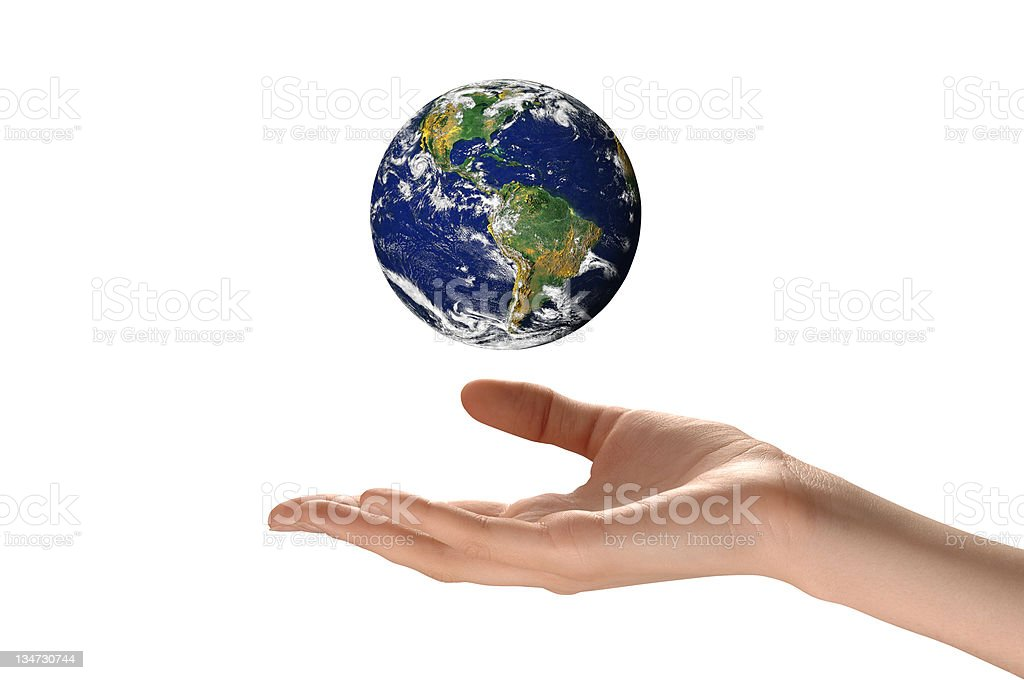 Earth hand white royalty-free stock photo