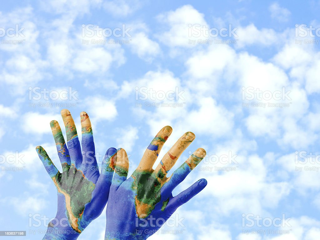 Earth hands royalty-free stock photo