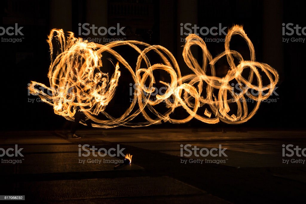 Earth hour fire show circles stock photo