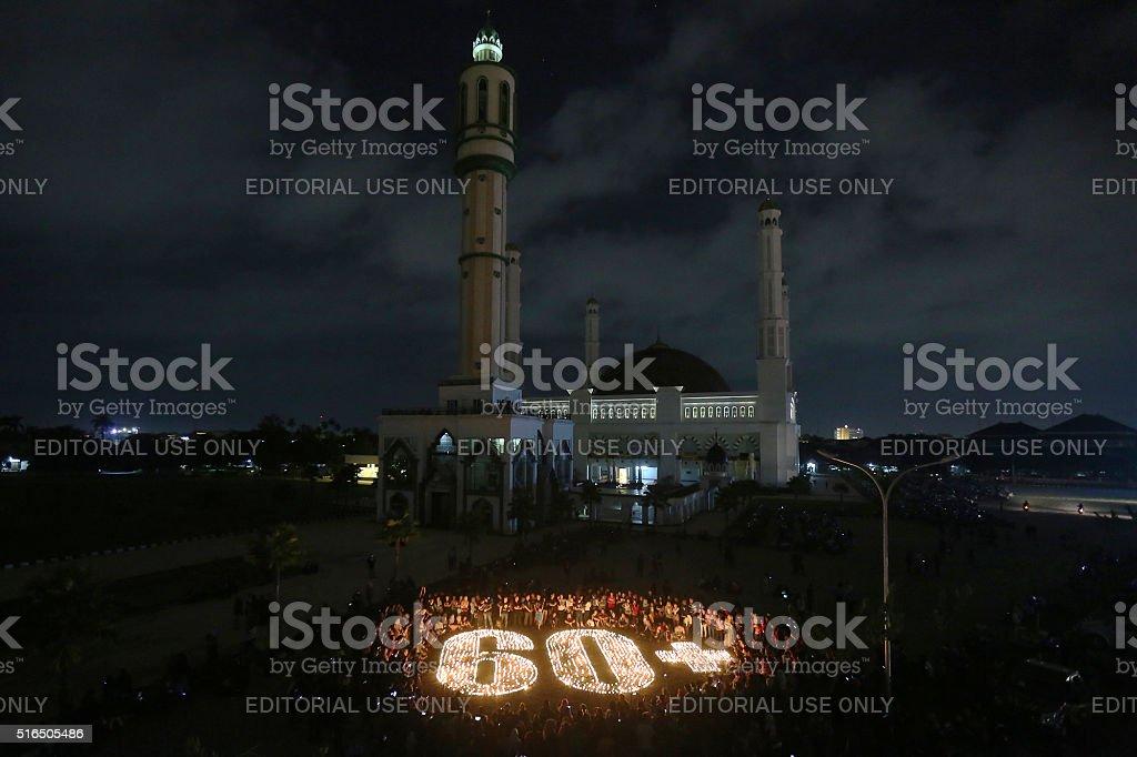 Earth Hour Pontianak 2016 stock photo