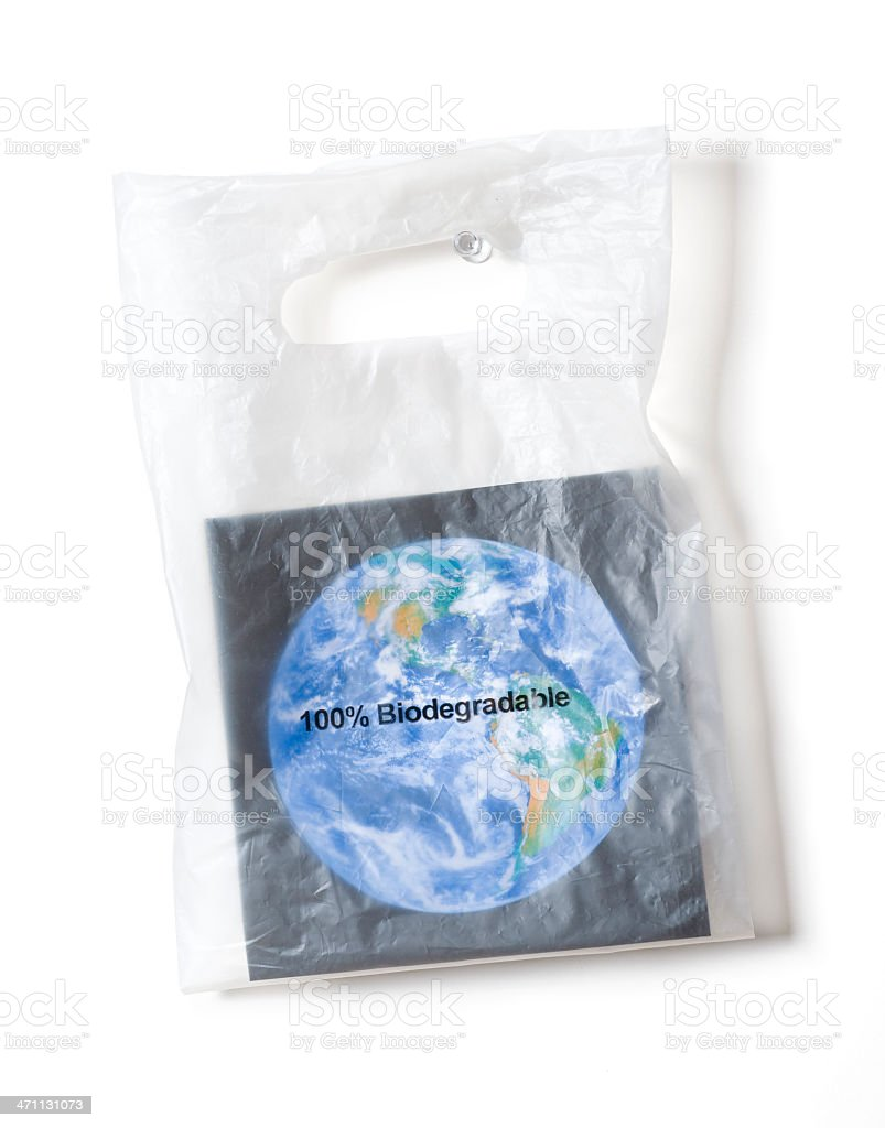 Earth in a biodegradable shopping bag stock photo