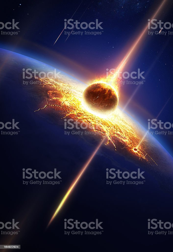 Earth in a  meteor shower stock photo
