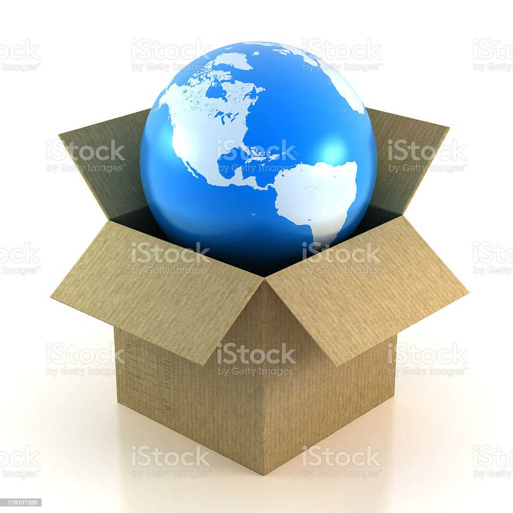 Earth in cardboard box - isolated with Clipping Path royalty-free stock photo