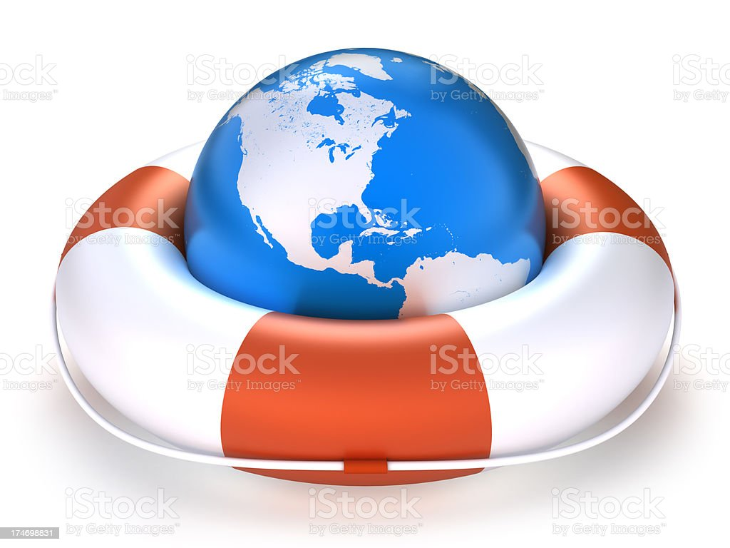 Earth in Lifebuoy - isolated with clipping path royalty-free stock photo
