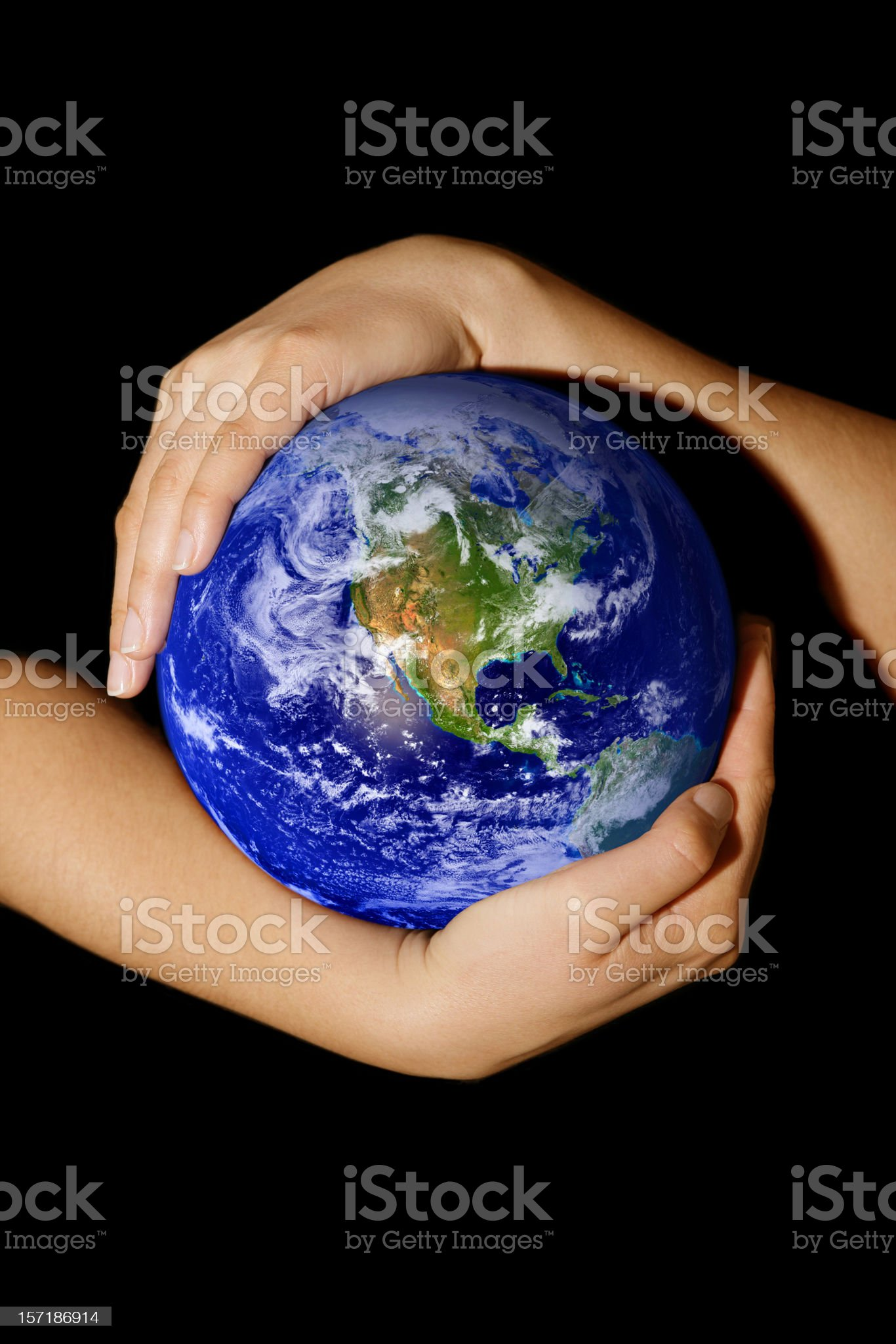 Earth in my hands - America royalty-free stock photo