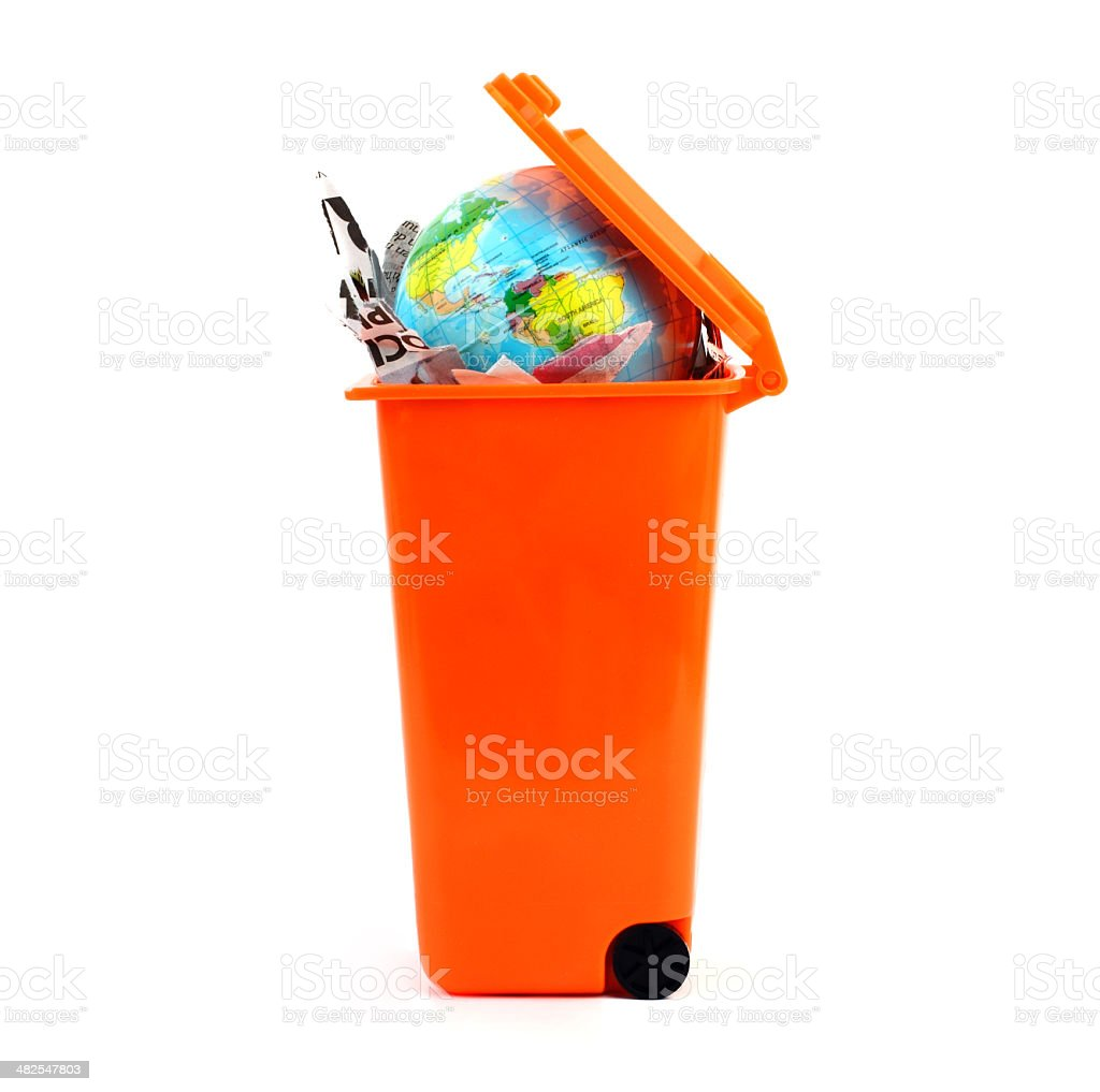 Earth in recycle bin royalty-free stock photo