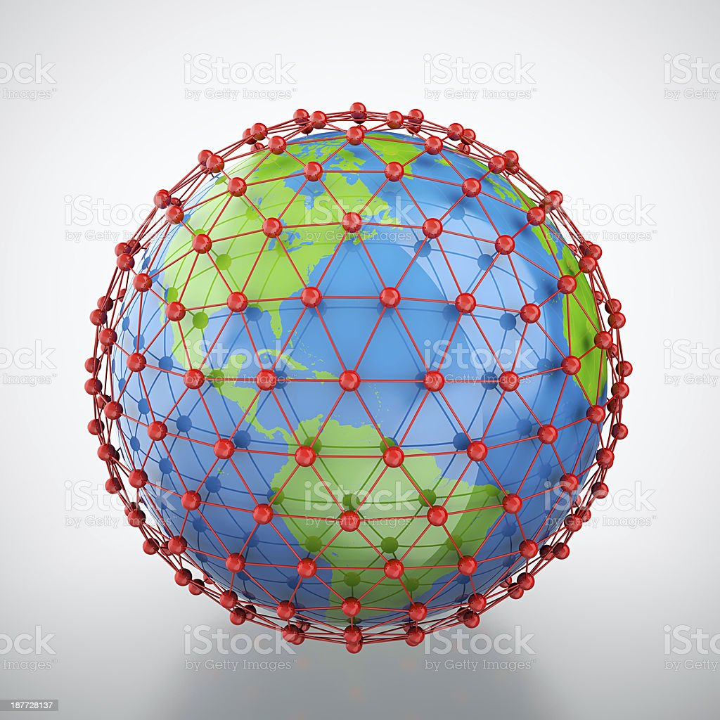 Earth in red cage stock photo