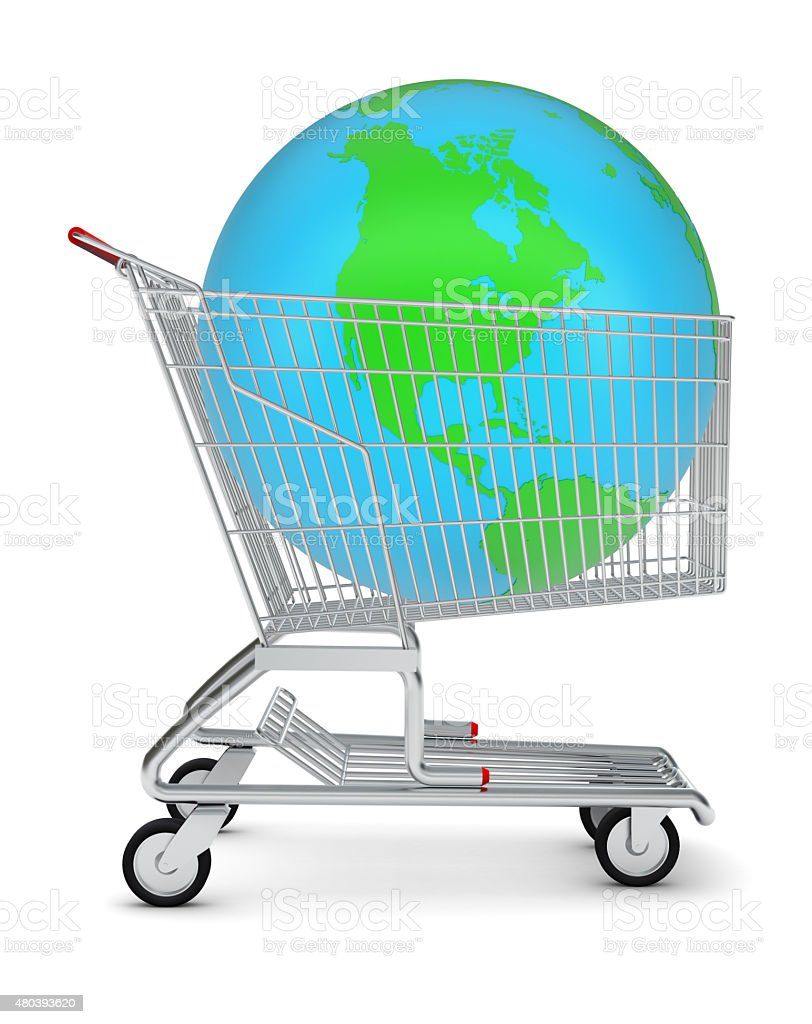 Earth in shopping cart stock photo