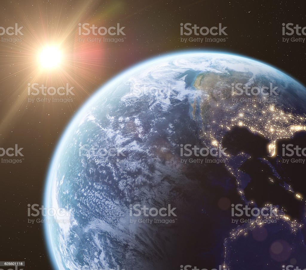 Earth in space, 3d render stock photo